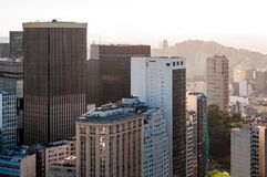 Office Buildings of Rio de Janeiro City Downtown. View of commercial and office buuldings in Rio de Janeiro city downtown, Brazil.View of commercial and office royalty free stock images