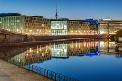 Office buildings at the river Spree in Berlin Royalty Free Stock Photos