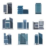 Office Buildings Set. Office buildings and business centers flat icons set isolated vector illustration Stock Photography