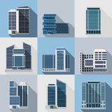 Office Buildings Set. Office and business buildings flat long shadow icons set isolated vector illustration Stock Photography