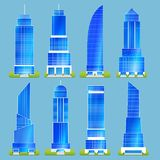 Office Buildings Set. Office buildings skyscraper tower urban apartment sticker set isolated vector illustration Stock Image