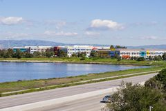 Facebook headquarters on the shoreline of San Francisco bay area, Silicon Valley, California. Buildings on the shoreline of San Francisco bay area, Silicon royalty free stock images