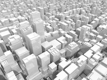 Office buildings and skyscrapers, 3d illustration. Abstract digital white cityscape with tall office buildings and skyscrapers, 3d illustration Royalty Free Stock Photography