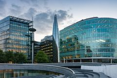 Office buildings on the south bank of the river Thames in London. At sunset time Stock Photography