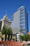 Office Buildings Surround Pioneer Courthouse Square. Here are two office buildings that are across the street from Pioneer Courthouse Square in Portland, Oregon Stock Photography