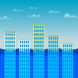 Office Buildings Surviving the Flood Royalty Free Stock Photo
