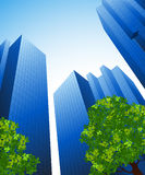 Office buildings and trees. Illustration, AI file included Stock Image