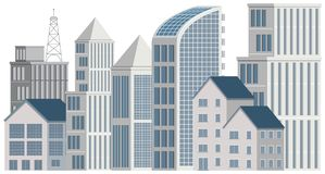 Office buildings on white background. Illustration Royalty Free Stock Photo
