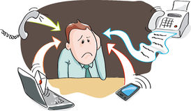 Office burnout - information overload by electronic devices. Office worker, businessman - burnout by information overload by electronic devices - smartphone stock illustration