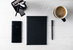 Office business black stationery overhead flat lay stock photography