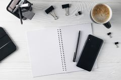 Office business black stationery overhead flat lay royalty free stock photo