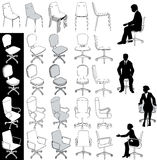 Office business chairs furniture drawings set. Collection of 5 types of business office chairs for architecture technical and other drawings vector illustration