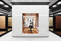 Office business cubical workstation area in a modern design setting. stock image