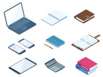 Office, business desktop workplace stationery set. Flat vector i. Flat vector isometric illustration of office desktop workplace supply set. Vector stationeries Royalty Free Stock Photos