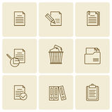 Office, business documents, files, folders vector thin outline i. Office and business documents, files, folders icon set. Vector thin outline icons and symbols Royalty Free Stock Images