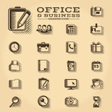 Office and Business engraved icons set. Office and Business engraved retro icons set Royalty Free Stock Image