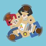 Office business flat : staff report teamwork analytics Stock Photos