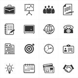 Office and Business Icons. Set of 16 black office and business icons great for any use Stock Images