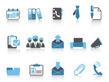 Office and business icons blue series. Isolated office and business icons in blue series Stock Image