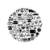 Office and Business Icons in circle Stock Photography