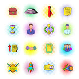 Office and business icons, comics style. Office and business icons in comics style on a white background Royalty Free Stock Photos