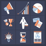 Office and business icons in gray buttons version Royalty Free Stock Image