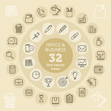 Office & Business icons. Office and business icon set. Office tools and accessories, finance and money thin vector line icons. Isolated infographic elements Stock Image