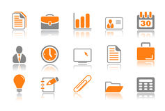 Office and business icons - orange series Stock Photos
