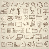 Office and business icons set. Hand drawn vector illustration Royalty Free Stock Image