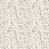 Office and business icons set. Hand drawn vector illustration. Seamless pattern Royalty Free Stock Images