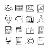 Office and business icons. Set of 16 office and business icons in sketch and pencil line theme stock illustration