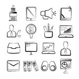 Office and business icons. Set of 16 office and business icons in sketch and pencil line theme Stock Images