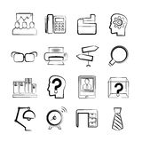 Office and business icons. Set of 16 business and office icons in sketch and pencil theme Royalty Free Stock Photography