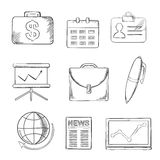 Office and business icons set, sketch style Royalty Free Stock Image