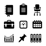 Office business icons vector. Black isolated Royalty Free Stock Images