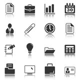 Office and business icons - white series. Web and Internet icons reflected on white background, isolated objects Royalty Free Stock Photography
