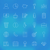 Office Business Line Icons Set over Blurred Background Royalty Free Stock Photos