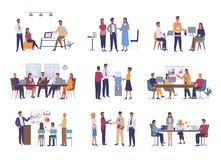 Office Business Meeting, Teamwork or Team Building vector illustration