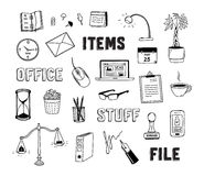 Office and business objects doodles set Royalty Free Stock Photo