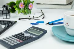 Office, Business objects  on white desk royalty free stock photo