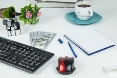 Office, Business objects  on white desk royalty free stock images