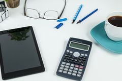 Office, Business objects  on white desk stock photos