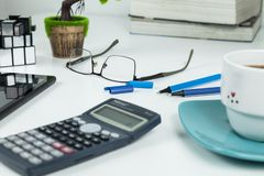 Office, Business objects  on white desk stock photography