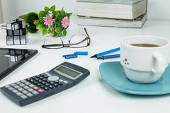 Office, Business objects  on white desk royalty free stock image
