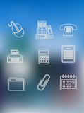Office and business outline icons set Royalty Free Stock Photo