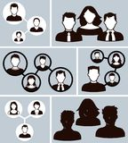 Office business people icons. A set of office business people men and women icon icons interacting and working together Royalty Free Stock Image