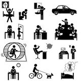Office business sticks icons. Office business routine life. Vector icons set with sticks Stock Photos