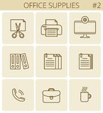 Office, business supplies line symbols. Vector thin outline icon. Office supplies and stationery outline icons: printer, monitor, document, briefcase, cup Royalty Free Stock Image