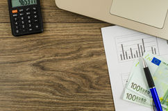 Office, business tools with euro and calculator Stock Photography