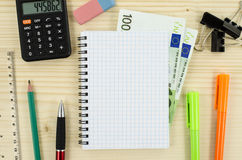 Office, business tools with notebook and euro Stock Images